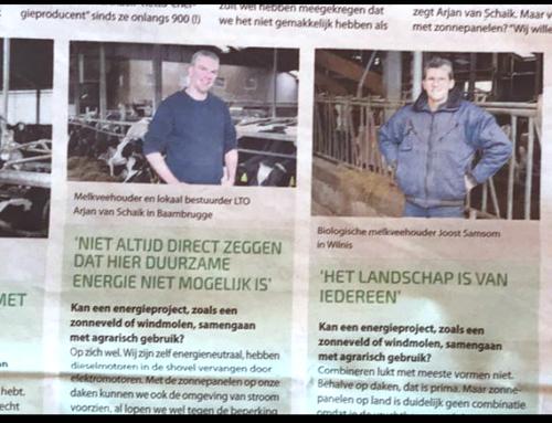 Artikel Nw. Meerbode   Vier boeren uit de DRV over hun rol in de energietransitie.